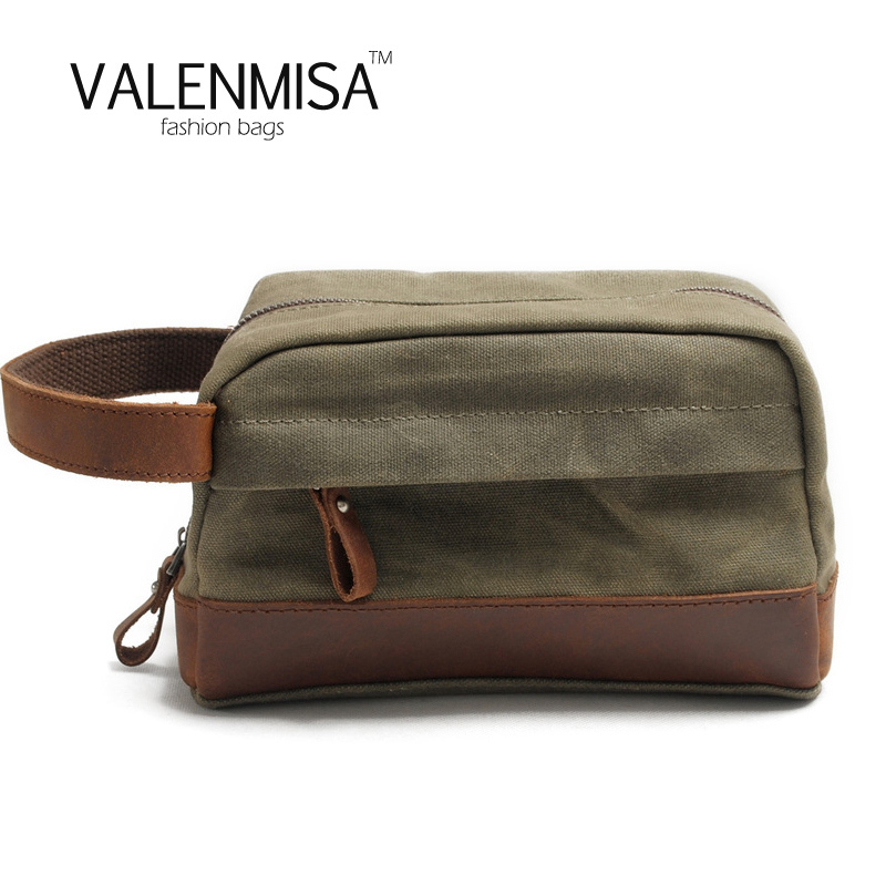 VALENMISA Crazy Horse Canvas Clutch Bag Men Casual Small Bags Male Money Pocket Vintage Men Leather Handbag Canvas Toiletry Bags<br>