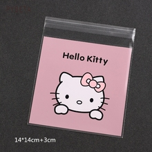 300pcs- Lovely Hello Kitty Biscuit Bag DIY Baking Plastic Self-adhesive Pocket Candy Sample Gift Packaging Bags(China)