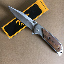 Small Browning 338 Folding Pocket Knife Wooden Handle Camping Survival Knife EDC Outdoor Hunting Knife Multi Tools