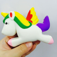 Do Dower 13.5cm PU Slow Rising Flying Unicorn Squishy Horse Squeeze Toys Gags Practical Jokes Full Doll Toys For Children Gift(China)