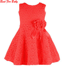 Retail NEW Summer girl dress,lace, bow princess dress, sleeveless fashion, elegant dress for girl, pink