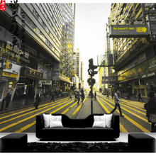 Custom Stereoscopic Large 3D Wallpaper Mural Street Scenery Hong Kong City Restaurant 3D Wallpaper for Walls Living Room