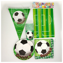 81pcs Cartoon football Soccer theme Party Supplies Decoration Disposable Tableware Sets happy birthday party supplies worldcup(China)