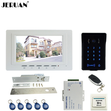 JERUAN luxury white 7`` Video Intercom Video Door Phone System RFID Access Waterproof Touch key Camera+Remote control Unlocked