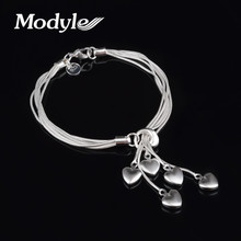 Modyle New Charm Romantic Heart Bracelet Femme Silver Color Women Wedding Bracelets Pulseras Fashion Jewelry(China)