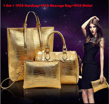 Famous Brand Best Quality Crocodile Bag Women Leather Handbags+Women Messenger Bags+Wallet 20Set/lot