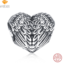 WYBEADS 925 Sterling Silver Angelic Feathers Heart Charms European Bead Fit Snake Chain Bracelet Bangle DIY Accessories Jewelry