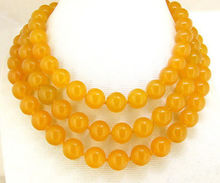 "Natural 10MM yellow gemst one necklace 50"">bead charm body jewelry charm jewelry"