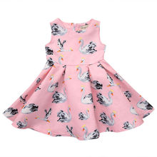Summer Baby Girl Swan Cotton Dress Kid Party Birthday Wedding Pageant Dresses Cute Baby Girls Clothes(China)
