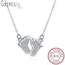GNIMEGIL Real 925 Sterling Silver CZ Rhinestone Mother and Baby Foot Pendant Necklace Mom Son Daughter Family Gift Jewelry(China)