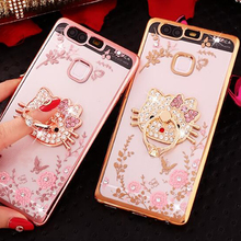 Ring Grip Lace Flower Pattern Carcasas Fundas For Huawei Y6 II 2 P8 Lite 2017 Nova Honor 8 Lite P9 P10 Plus 4A 5A Phone Cases(China)