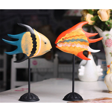 2pcs/set Mediterranean Style Ornaments Home Decor Gifts Crafts Classic Color Pattern Tropical Fish Home Furnishings
