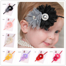 1PCS Shabby Chic Headband Baptism Gift flower lace headband Newborn  Hair Bows Chiffon hair flower hairband Hair Bows