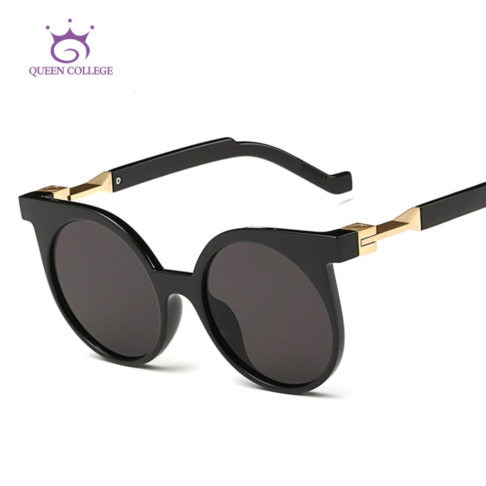 Queen College Womens Sunglasses Round Lens Cat Eye Summer Style Sun Glasses Vintage Brand Designer Oculos De Sol UV400 QC0262<br><br>Aliexpress
