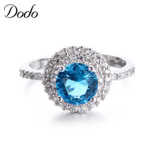 DODO Engagement S925 silver rings for women Round Blue stone Crystal jewelry vintage accessories unique product  Bijoux DR182