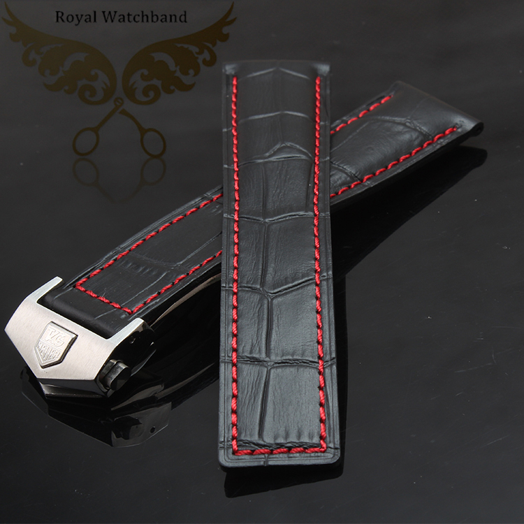 Watch Strap 22mm NEW Mens Red or Black stitched Black Genuine Leather Watch band strap bracelets<br><br>Aliexpress
