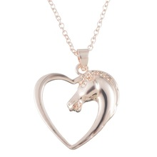MJARTORIA Women Hollow Love Necklace Rose Gold Heart Charm Horse Head Pendant Jewelry Long Necklace 52cm Gift 1PC(China)
