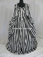 High Quality Civil War Victorian Steampunk Black White Stripes Floor-Length Prom Party Dresses Titanic Halloween Costume