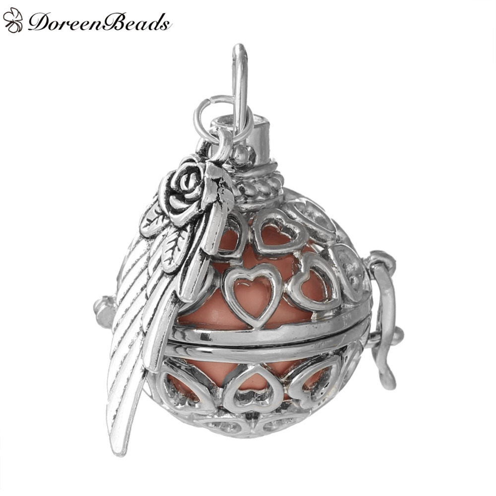 DoreenBeads Copper Wish Box Pendant Silver Tone Wing Heart Carved With Sound Beads Ball Clear Rhinestone 36mm x 28mm, 1 PC(China (Mainland))