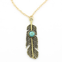 Beads Necklaces Gold Link Chain Feather Leaf Pendant Long Tassel Statement Charm Women Jewelry Ethnic Choker(China)