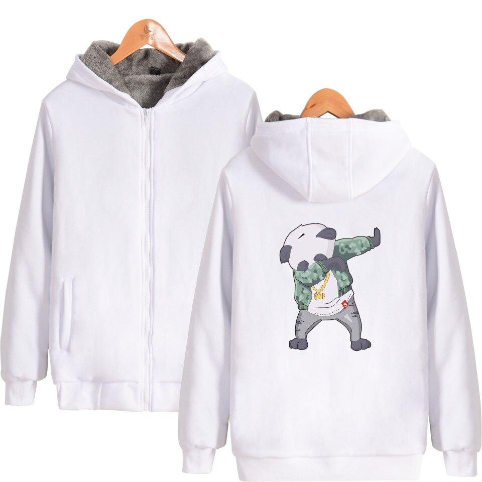 LUCKYFRIDAYF Funny Aminal Thicker Hoodies Men Zipper Kawaii Cartoon Thicker Sweatshirt Men Hoodie Winter Clothes With Zipper 4XL