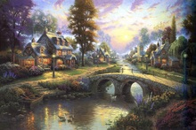 printed thomas kinkade landscape oil painting prints on canvas wall art picture for living room home decorations 40x50cm -608(China)