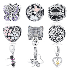 Original 925 Sterling Silver Beads Pink Glaze Butterfly Dragonfly Blooms Crystal Bead Fit Pandora Charms Bracelets & Bangle