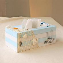 pumping creative napkin box mediterranean hotel bathroom multifunctional wooden tissue box  paper box home decoration A2