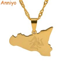 Anniyo Italy Sicily Map Pendant Necklaces,Silver Stainless Steel/Gold Color Italian Jewelry Gifts #025121(China)
