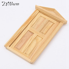 1/12 DIY Mini Miniature 4 Panel Wooden Classical Exterior Door Frame Doll house Toys Ornaments Gadget Decoration Craft Kid Gift