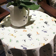 HBZ26 tablecloth table cover cloth linen natural cartoon fabric rectangle squre beige napkin zoo animals elephant Giraffe