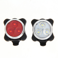 2Pcs USB Rechargeable Cycling Bike 3LED Head Front Rear Tail Clip Light Lamp 4 modes Red White Bicycle Lights Set New TL#8