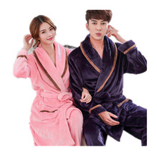 Couples Bathrobe Flannel Thick Warm Winter Robes Long Sleeve Man And Women Robe Sleepwear Home Clothes Bath Robes (China)