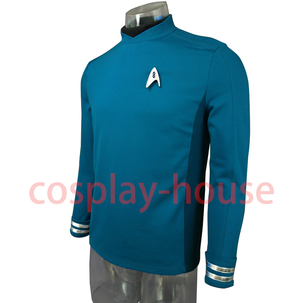 Cosplay Star Trek Custume Beyond Blue Captain Kirk Uniform Spock Blue Uniform Badge Scotty Red Halloween Party Prop (5)