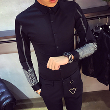 YGYKE Luxury Long Sleeve with Chain Slim Fit Mens Dress Shirts Casual Chemise Homme