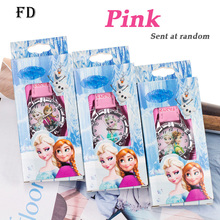 FD Fashion Princess Elsa Children Watch with box Hot Cartoon Pattern Girls Quartz Wristwatch Casual Leather Strap Kids Clock