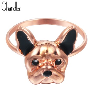 Wholesale 10pcs Unique Bronze French Bulldog Rings For Women Midi Finger Bague Vintage Animal Puppy Jewelry Feminino Accessaries