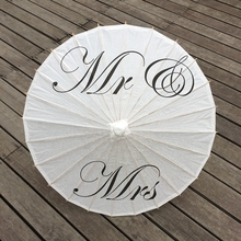 Thank you/Just Married/Mr&Mrs White Paper Parasols for Wedding Pics,DIY Wedding Paper Parasol Umbrella Party Supplies