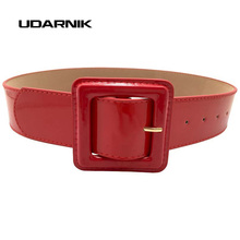 New Fashion Women Ladies Wide Belt Faux Leather Causal Skinny Waistband Strap Dress Belt Wet Look 200-296(China)