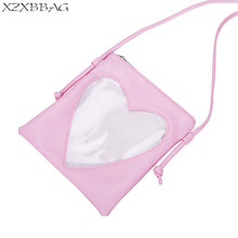 XZXBBAG Cute Transparent Love Heart Shape Ita Bag PU Leather Messenger Bag Kids Kawaii Crossbody Case Teenage Girls Shoulder Bag(China)