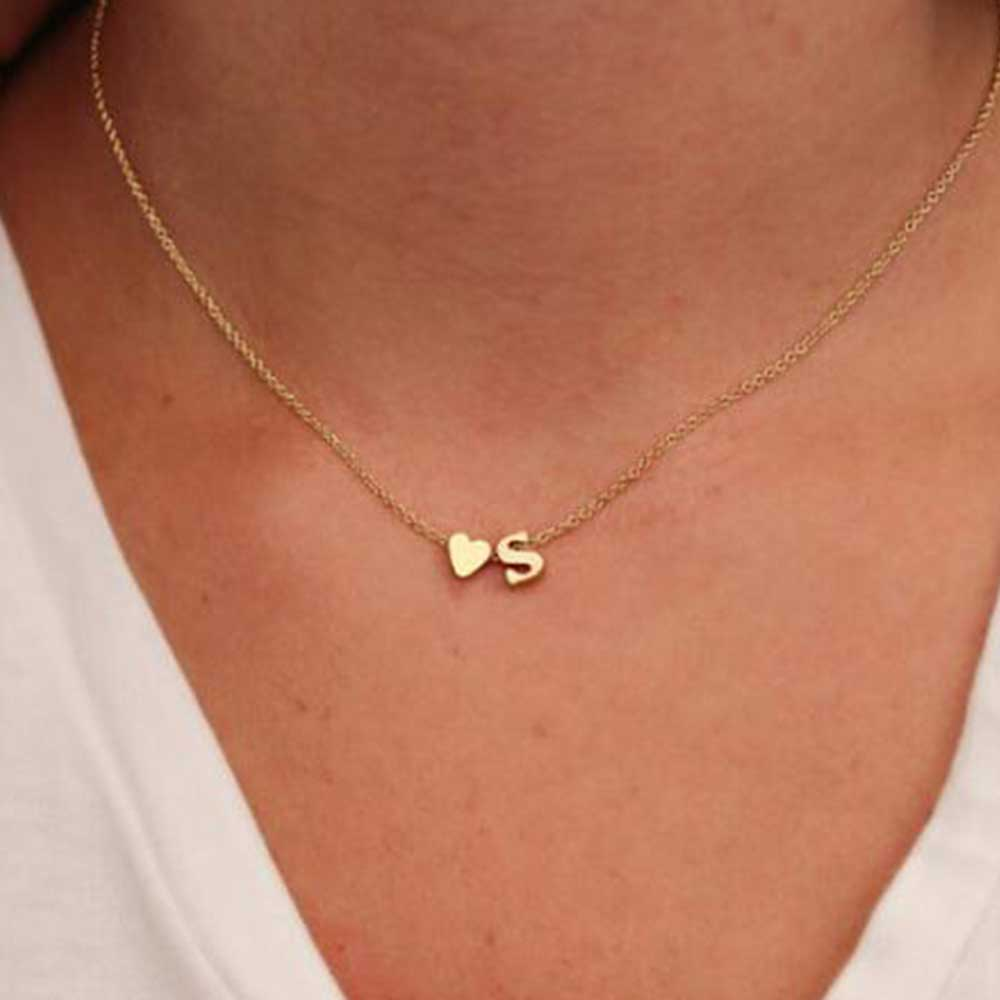 TOMTOSH Fashion Personalized love heart Letter Alphabet Pendant Necklace Initial Necklaces Charms For Women Mini Jewelry Chain(China)
