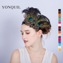 Multi-colors Peacock feathers Hair Accessories Black Sequin headband Party Headpiece Women Flapper Feather headbands SYF179