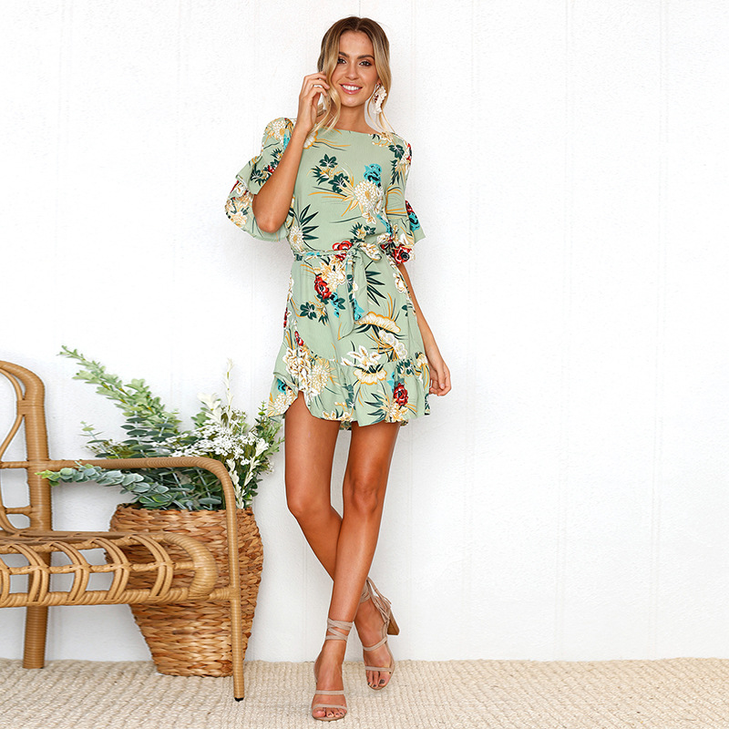 Lossky Summer Women Beach Dress 2018 Bohemian Floral Print Boho Dress O-Neck Short Sleeve Ruffle Mini Chiffon Dress With Belt 15