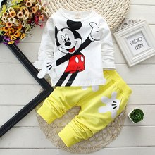 Spring Autumn Baby Boy Clothes 2017 Cartoon Long Sleeved T-shirts Tops + Bib Overalls Children's Outfits Kids Bebes Jogging Suit(China)