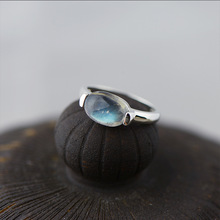 S925 Sterling Silver Silver Hand inlaid natural Labradorite Moonstone Ring Ring fashion jewelry sweet