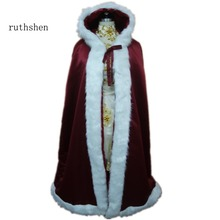 ruthshen Bridal Cape Ivory Wedding Cloaks Hooded with Faux Fur Trim Ankle Length Red White Perfect For Winter Long Wraps(China)