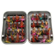 32pcs/sets fly fishing lure set Artificial Insect bait trout fly fishing hooks tackle with case box