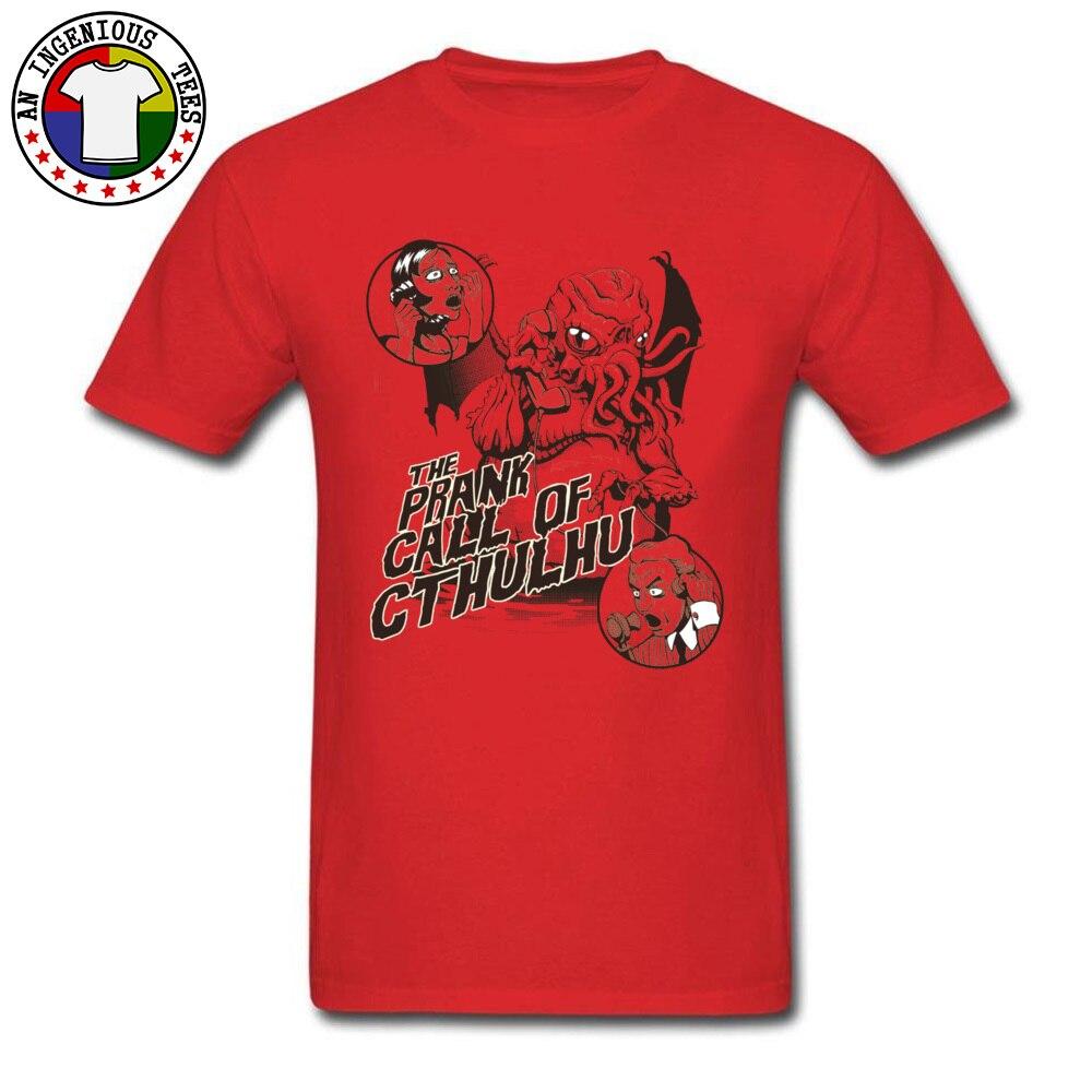 On Sale Men T Shirts Round Collar Short Sleeve 100% Cotton Custom Tops Shirts Summer Sweatshirts Wholesale The Prank Call of Cthulhu -3365 red