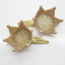 2 Pcs/set gold glitter crown charm hair snap clips girl's bling hair clips fashion shinny hair pins hair accessories