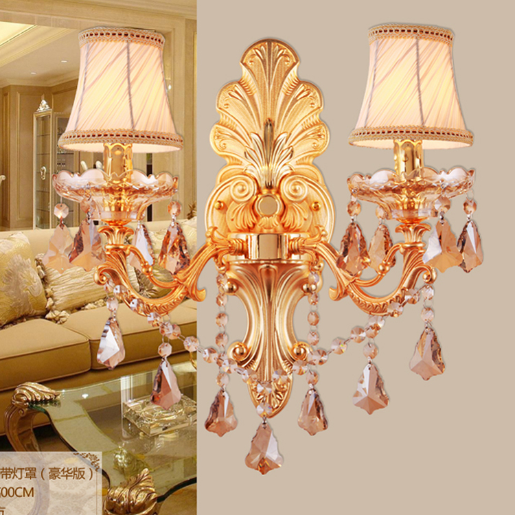 New luxury gold crystal wall light indoor wall lamp alloy crystal candle E14 double single head wall light  Wall Lights For Home<br>